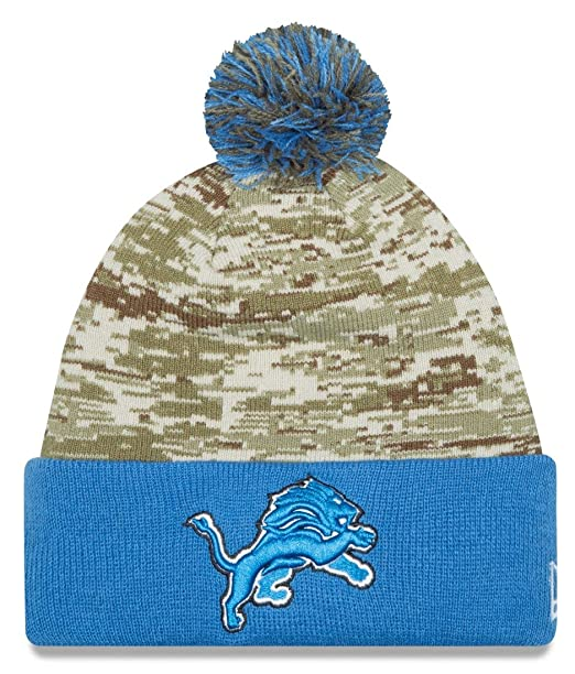 7fe43036f25 New Era Men s NFL 2015 Detroit Lions Salute to Service Knit Hat Digi Camo  Size One