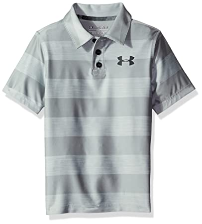 f813cbd7 Under Armour Boys' Composite Stripe Polo, Overcast Gray/Stealth Gray, Youth  X