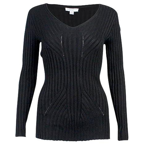Katherine Barclay Womens V Neck Ribbed Sweater Black Small at Amazon  Women s Clothing store  5c206780e