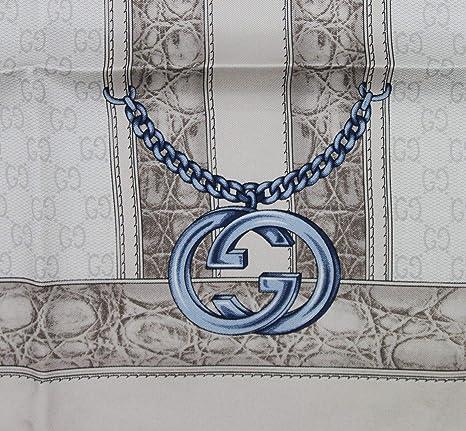 19e91a5166a Gucci Women s Blue Interlocking Chain Print Multicolor Silk Twill Scarf  327374 1969 at Amazon Women s Clothing store