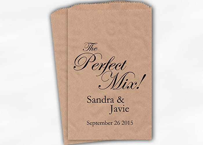 Amazing The Perfect Mix Wedding Favor Bags For Candy Buffet Trail Mix In Black Personalized Set Of 25 Kraft Paper Bags 0158 Home Interior And Landscaping Palasignezvosmurscom