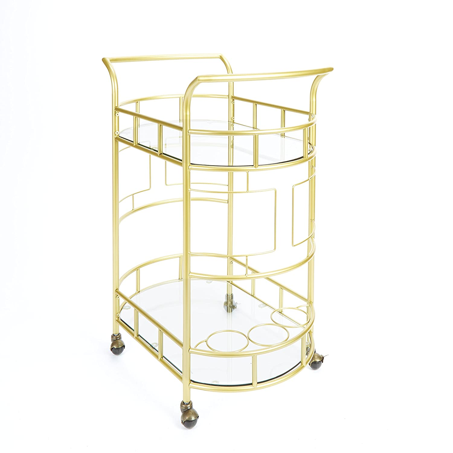 "Silverwood FS1133B-COM Sinclair 2-Tier Serving Cart 2, 17"" L x 26.5"" W x 34.5"" H, Gold"