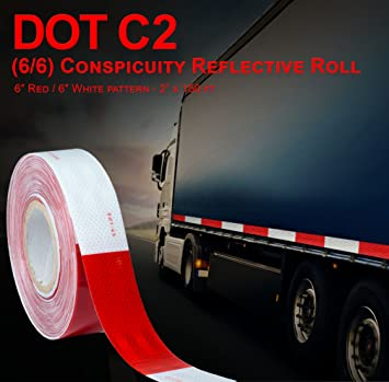 """Trailer ABN Trailer Conspicuity DOT-C2 Approved 2/"""" Inch x 12/' Foot Reflective White Tape Boat Sign Vehicle"""