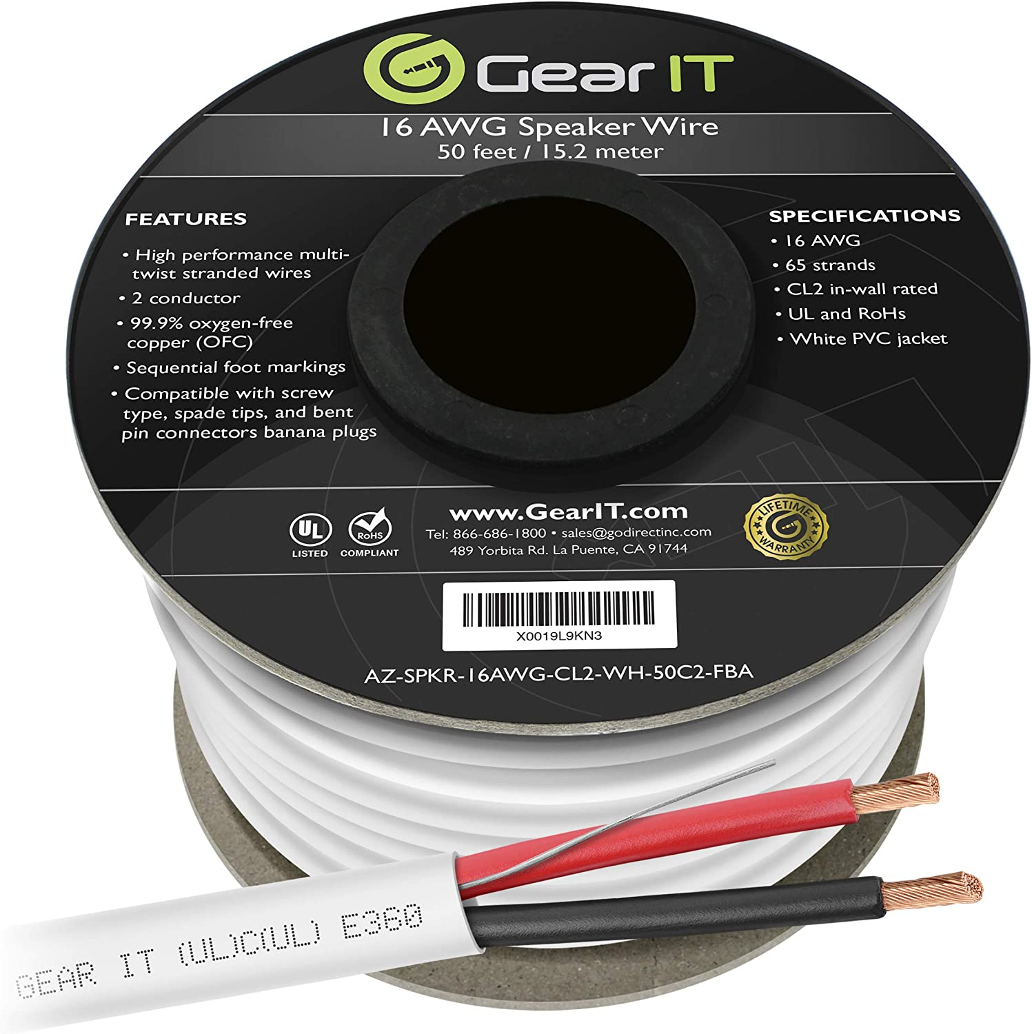 16 AWG CL2 OFC in Wall Speaker Wire, GearIT Pro Series 16 AWG Gauge (50 Feet / 15.24 Meters/White) OFC Oxygen Free Copper UL CL2 Rated in-Wall Speaker Wire Cable for Home Theater and Car Audio