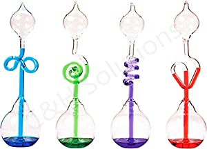 Colorful Office Thinking Hand Boiler, Glass Science Energy Transfer, Children Science Experiment, Love Birds Color Meter Hand Boiler, 4 Pcs (Red&GreenBlue&Purple) by C&H