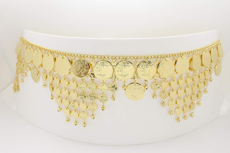 TFJ Women Gold Metal Chain Ethnic Fashion Belly Dancing Belt Hip Coin Bells Charms L XL