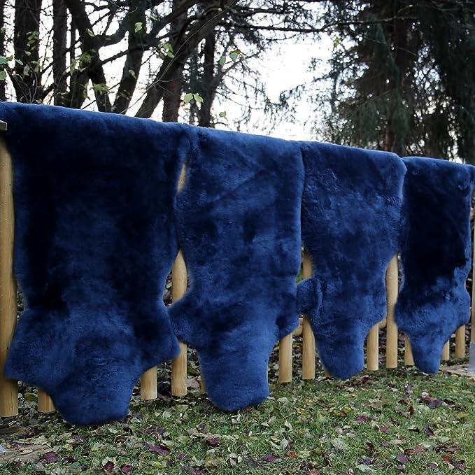 90-100 Hollert German Leather Fashion Peau de Mouton Bleu Marine Tondu Peau de Mouton m/érinos Tapis dentr/ée Coussin de si/ège d/écoration