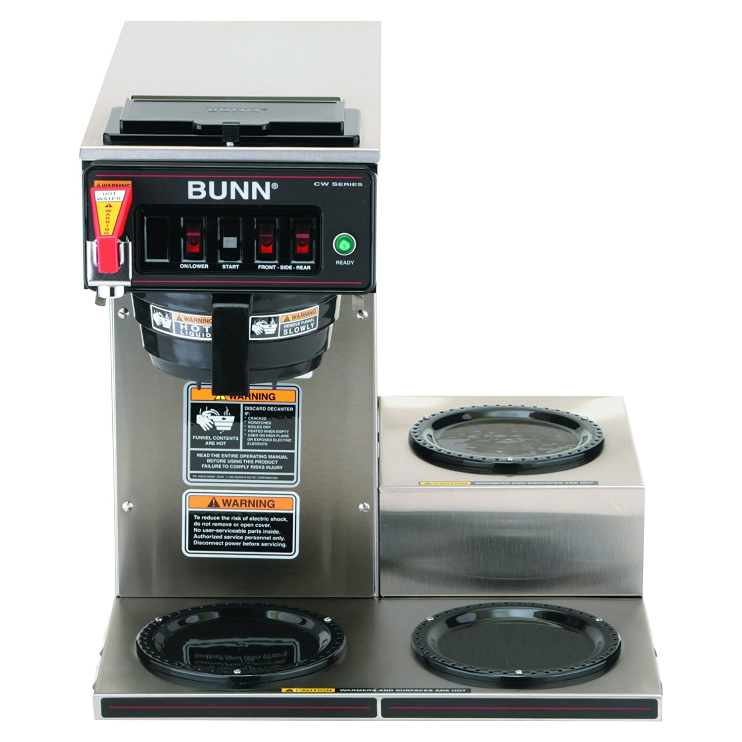 Bunn 129500212 Cwtf15 3 Automatic Commercial Coffee Cw Series Wire Diagram Brewer With Lower Warmers 120v Drip Coffeemakers Kitchen Dining