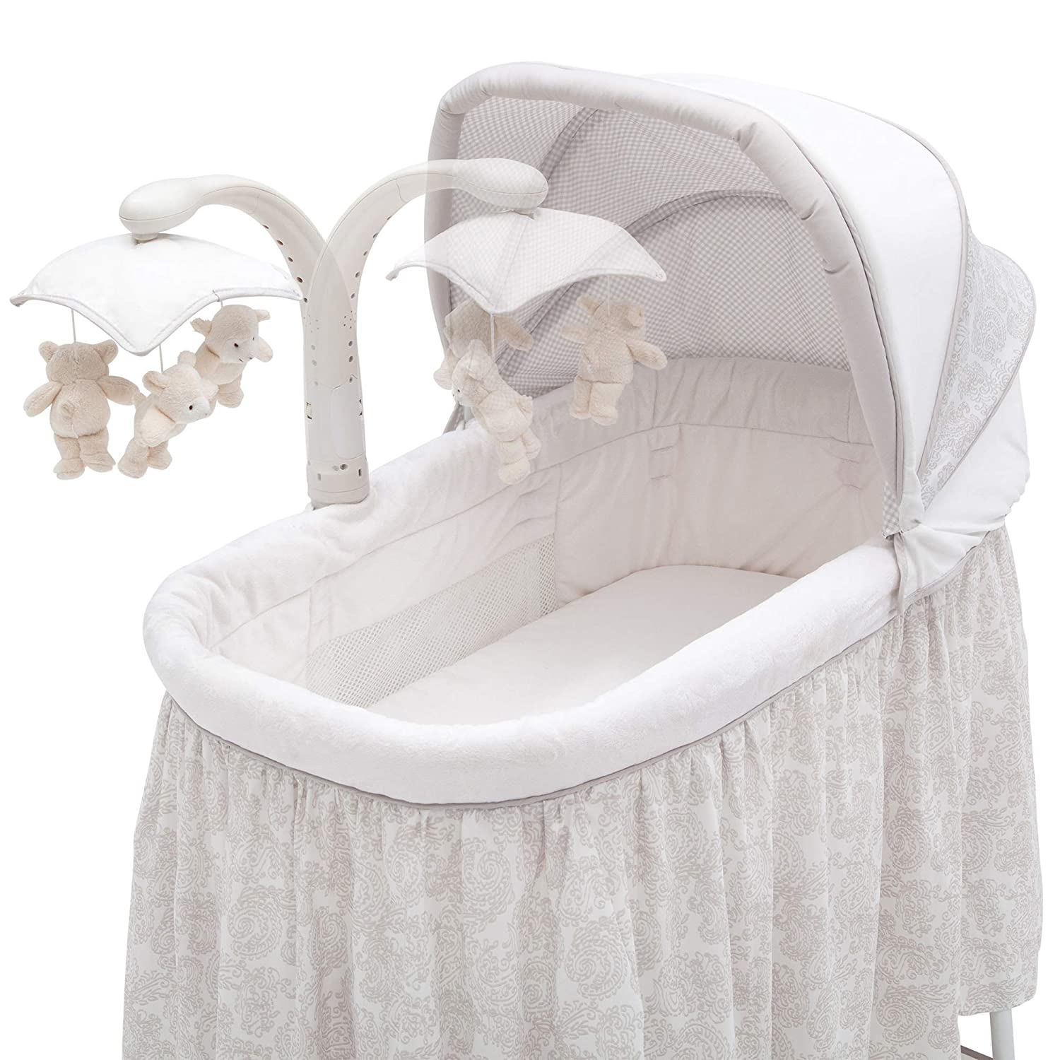 Ivory with Taupe Delta Enterprise Corp PLA 701305-2282 Simmons Kids Silent Auto Gliding Deluxe Bassinet Embossed Paisley