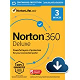 Norton 360 Deluxe 2021 – Antivirus software for 3 Devices with Auto Renewal - Includes VPN, PC Cloud Backup & Dark Web Monito