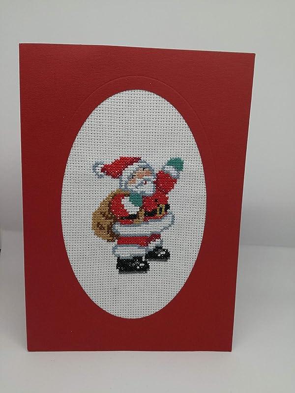 Babbo Natale Punto Croce.Babbo Natale In Punto Croce Biglietto D Auguri Formato 21 X 15 Cm Santa Claus Rosso Merry Christmas Amazon It Handmade