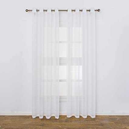 Aquazolax Semi Sheer White Linen Curtains Striped Window Voile Panels Living Room Patio Grommet Curtains Drapes 1 Pair 52 X 95 Inch Long