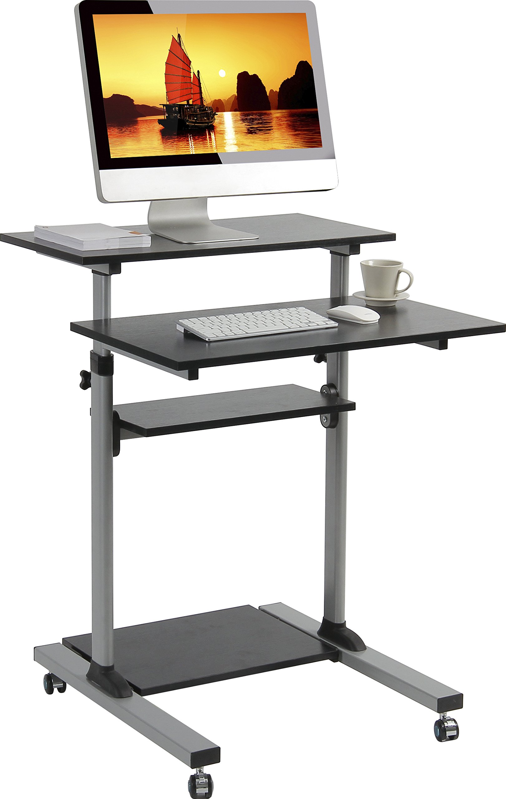 ONKRON Mobile Stand Up Desk Height Adjustable Computer Workstation Rolling Sit Stand Desk Cart with Keyboard Tray Presentation Cart W1R Silver