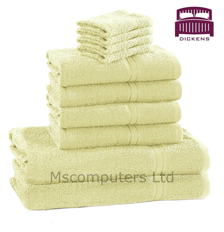 White 10 Towel Set Bathroom 100/% Cotton Face//Hand//Bath Towels Luxury
