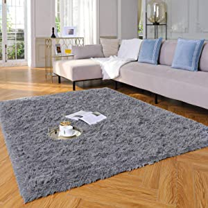 Yome Machine Washable Area Rug, Fluffy Soft Carpet with Durable Edges, Home Decor Floor Rug for Your Home's Living Room, Bedroom, Kid's Room, Office, Fuzzy Rug 4 x 5.3 Feet, Dark-Grey.
