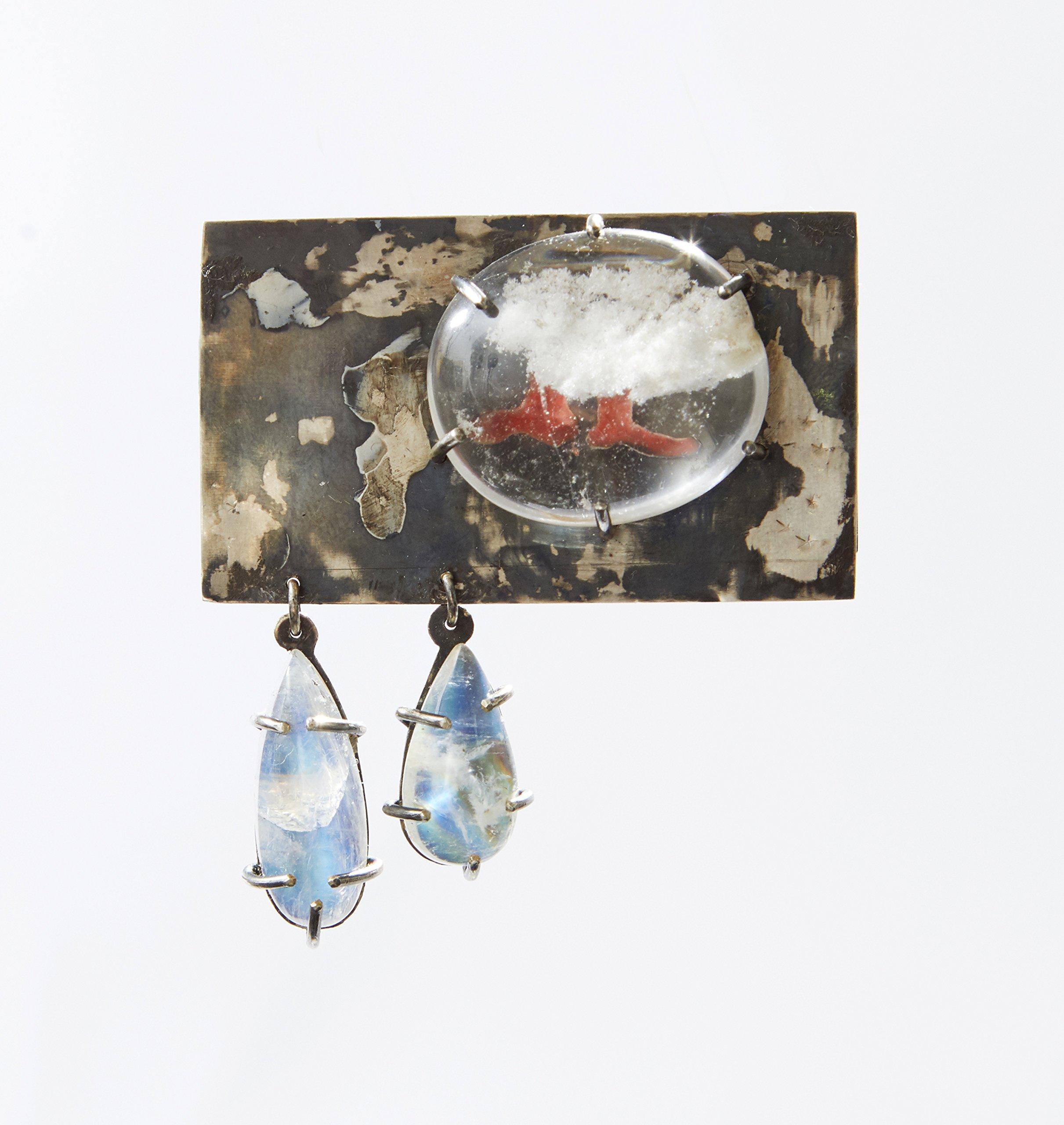 Silver, Quartz and Moonstone brooch