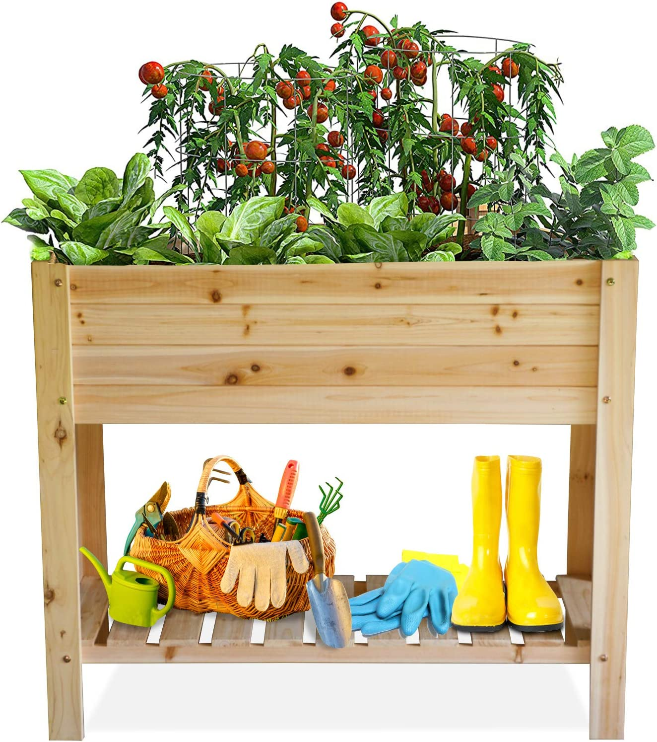Raised Garden Bed Elevated Wood Planter Box Outdoor Wooden Planters Raised Beds with Legs for Vegetable Flower Herb, Above Ground Gardening Box with Protective Liner for Backyard Patio, Deck, Balcony
