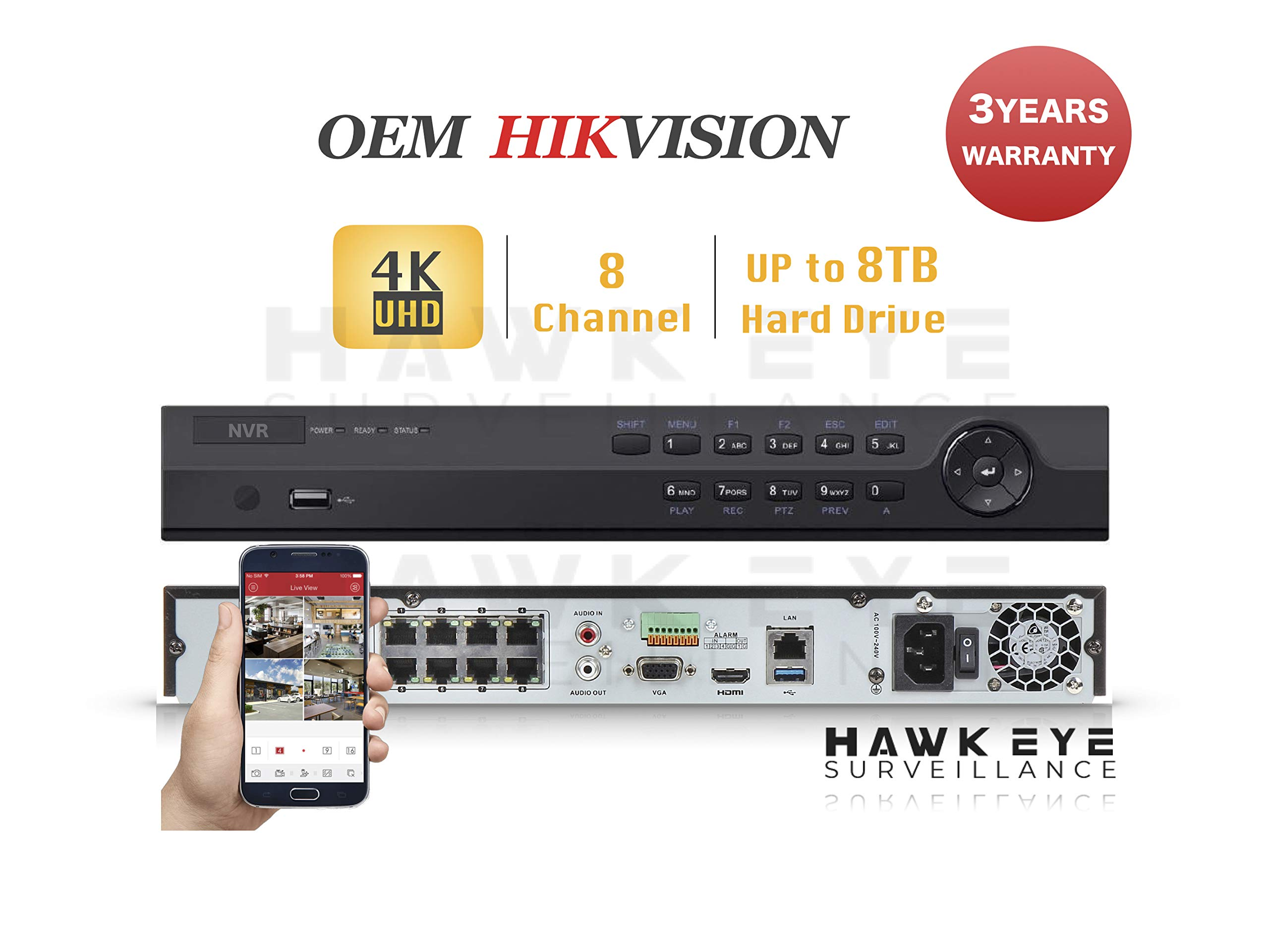 4K 8CH IP Network Video Recorder - 8 Built in PoE Port Up to 12MP Resolution Recording Compatible as DS-7608NI-K2/8P NVR 3 Year Warranty by HAWK EYE SURVEILLANCE