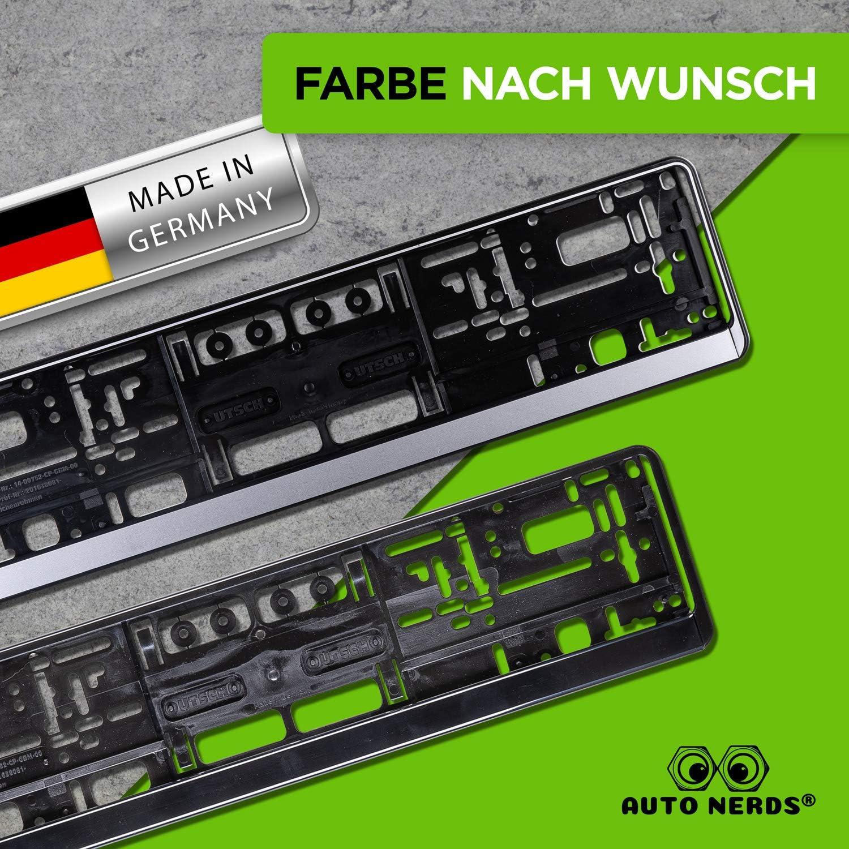 Schwarz /& Silber Set Nummernschildverst/ärker Kennzeichenrahmen 2er Made in Germany Schwarz Auto Nerds /® Kennzeichenhalter Auto