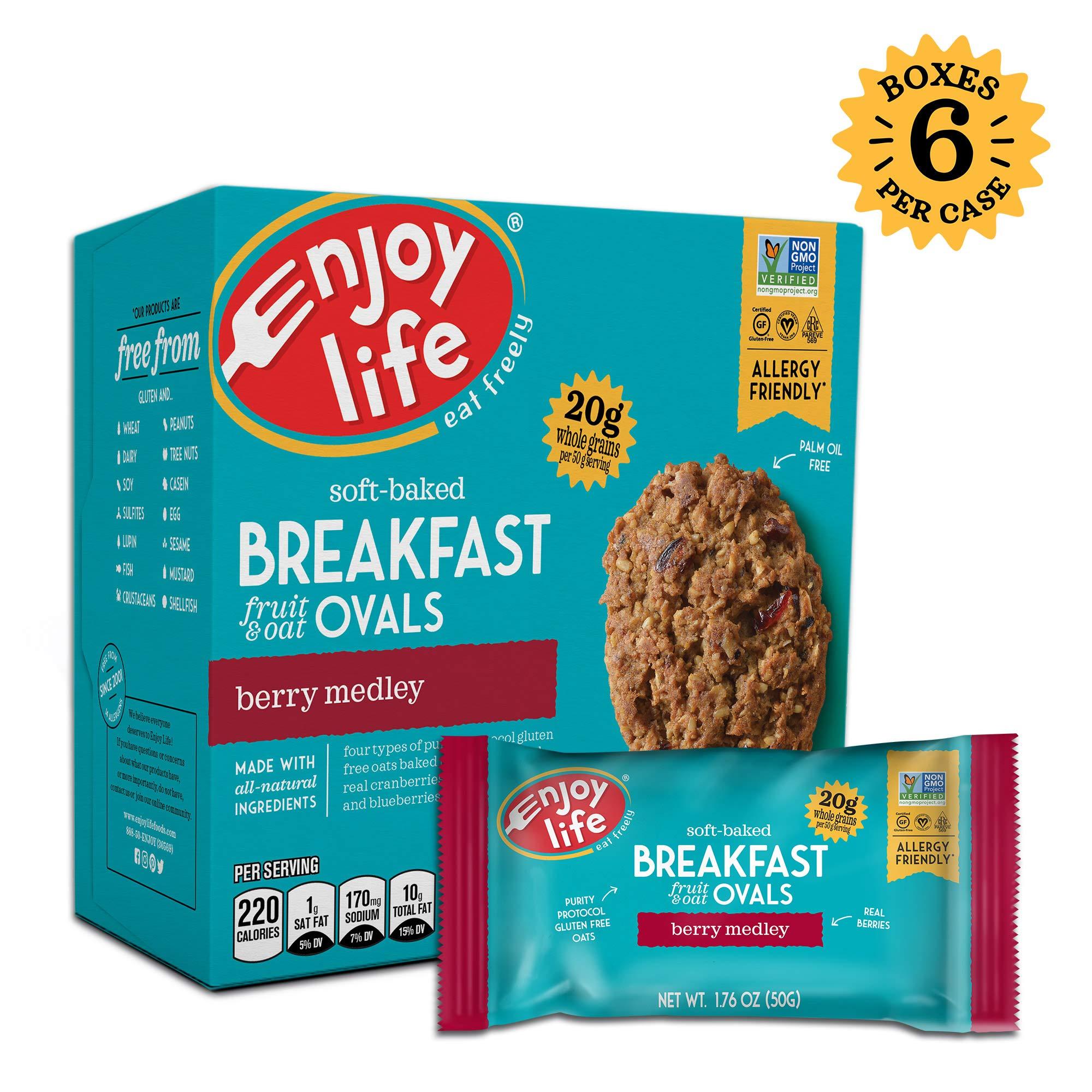Enjoy Life Gluten Free Nut Free & Vegan Breakfast Cookies, Berry Medley, 6 Count Boxes, 30 Bars by Enjoy Life Foods