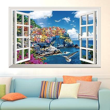 Adesivi Murali Finte Finestre.3d Finestre Finte Vista Sul Mare Citta Adesivi Da Parete Salotto