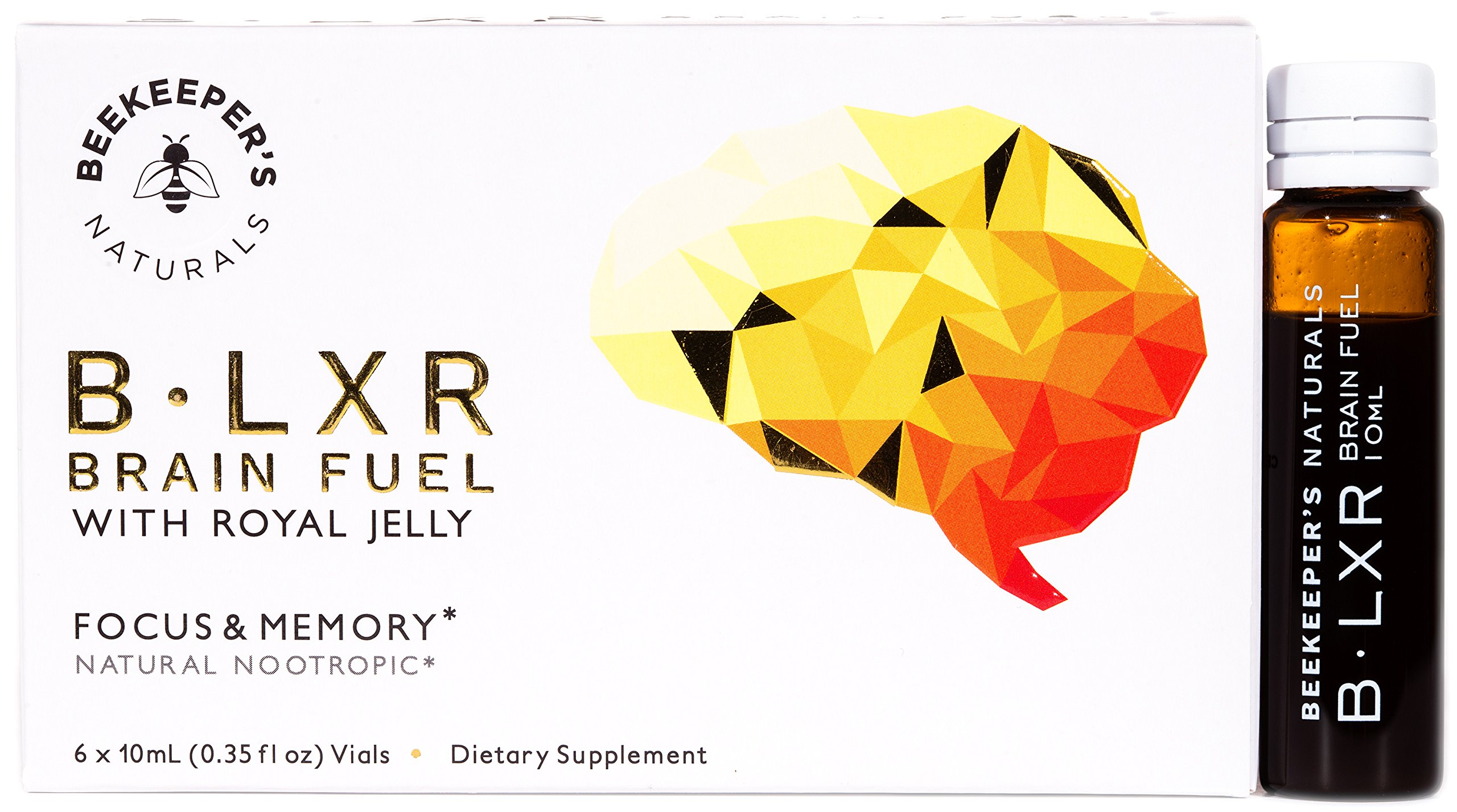 BLXR Brain Fuel by Beekeeper's Naturals | 6 Vials | Nootropic Brain Supplement with Royal Jelly, Ginkgo Biloba and Bacopa | Supports Mental Clarity, Focus, Memory and BDNF | Caffeine Free