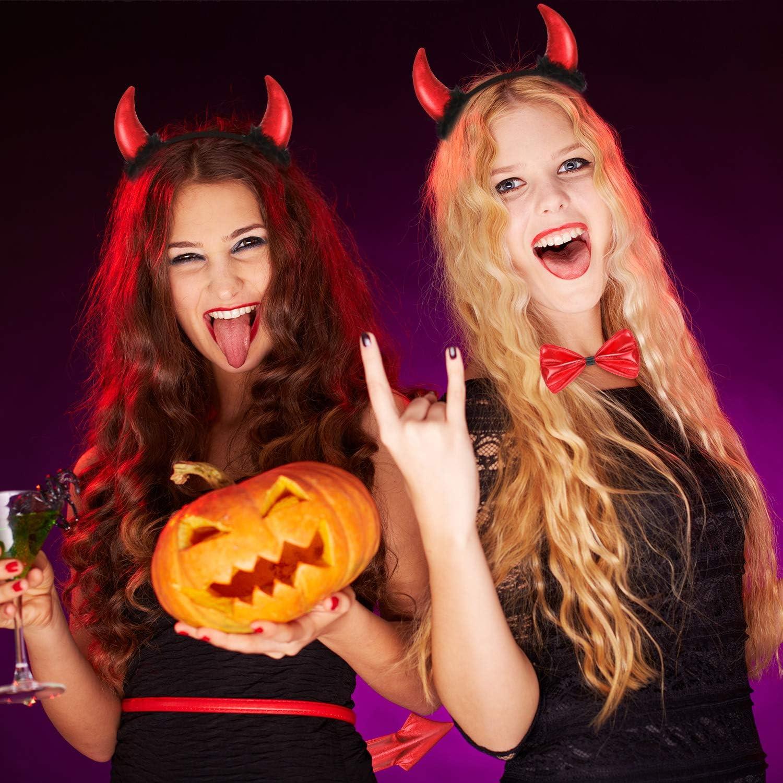 WILLBOND Devil Costume Accessory Set Halloween Devil Accessory Kit Costume for Creative Halloween Supplies Red Halloween Devil Ear Headband Horn Headband Bow Tie and Tail