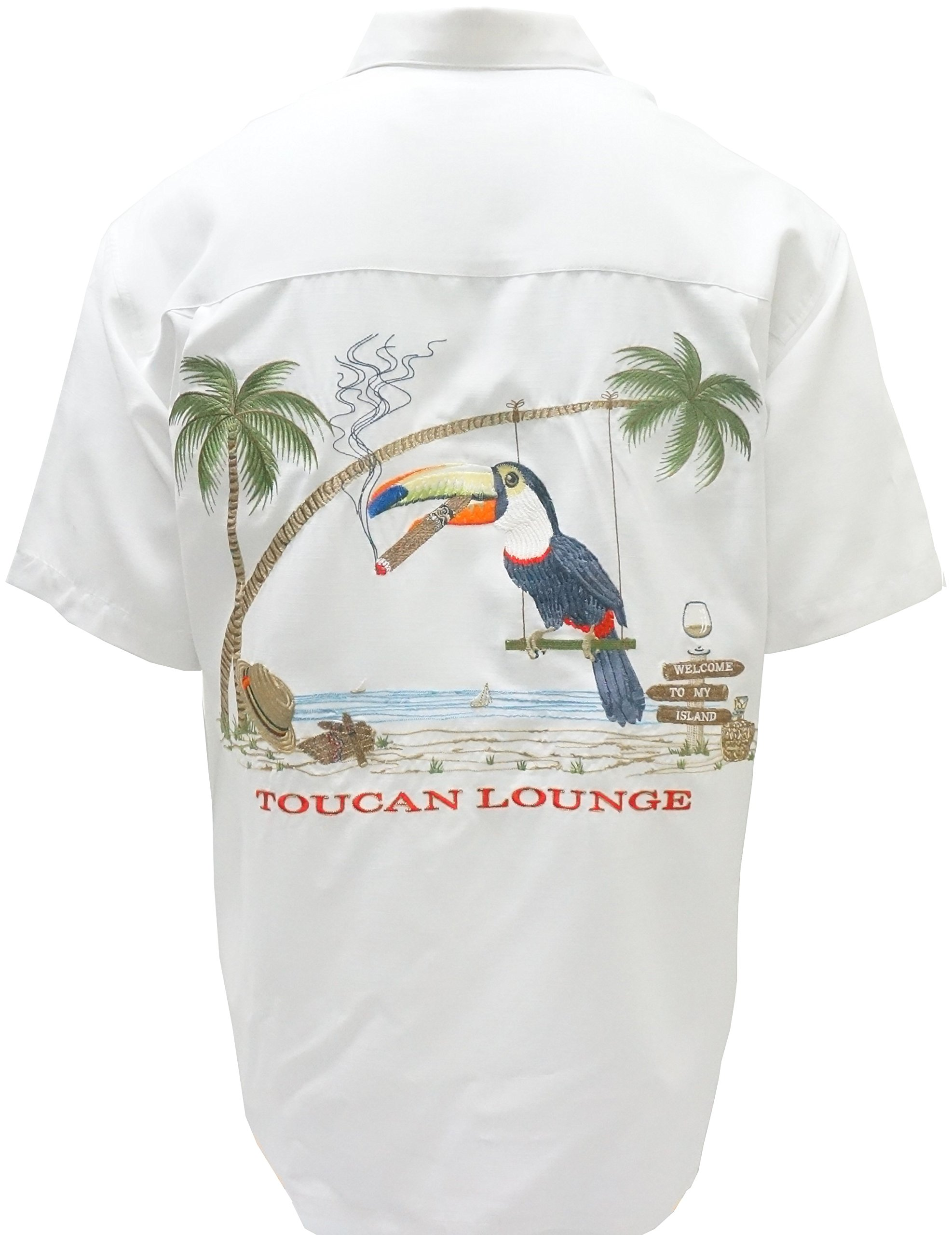 Bamboo Cay Mens Toucan Lounge Button Front Embroidered White Camp Shirt (2XL)