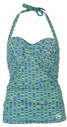 736ec32266 Ladies Flattering Fit Padded Tankini Top Swimwear (10, Ceramic AOP ...