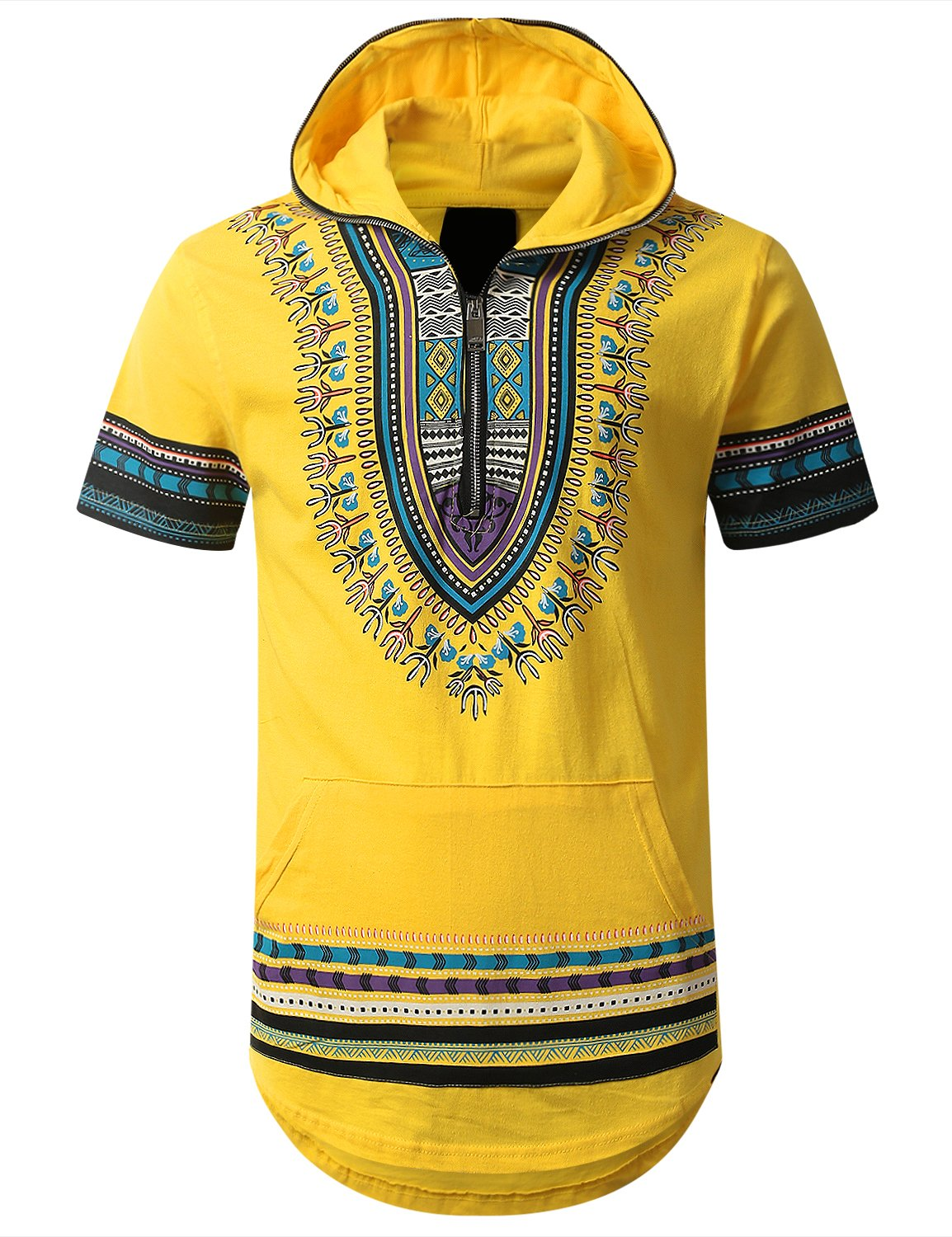 URBANCREWS Mens Hipster Hip Hop Dashiki Half Zip Up Hoodie Shirt Yellow XLarge