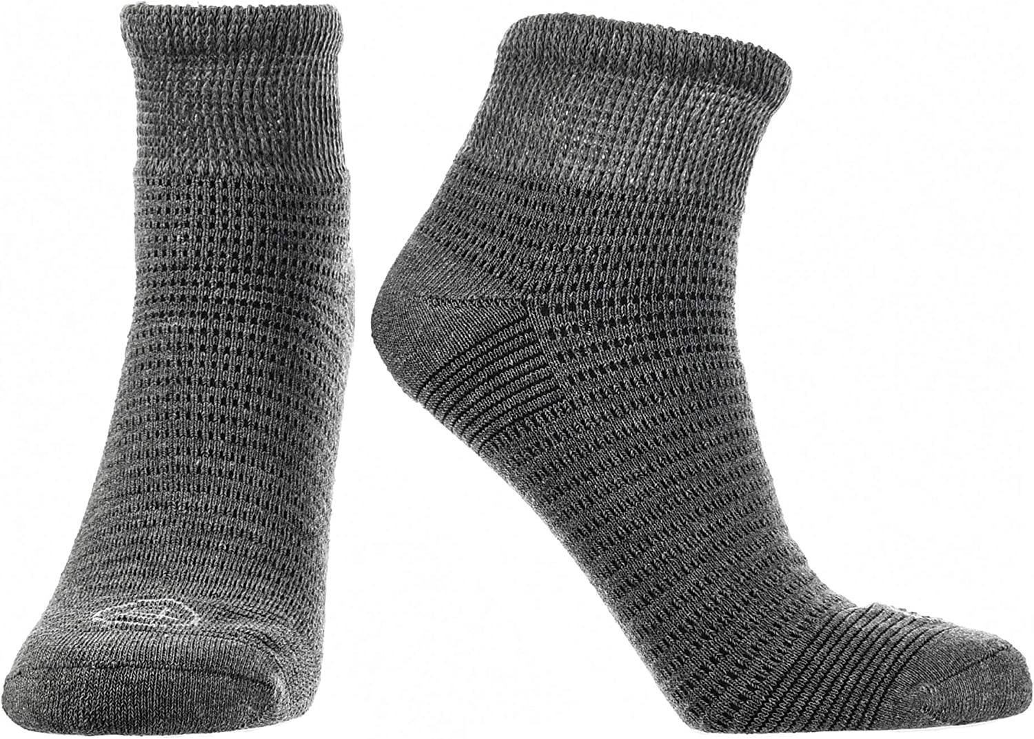 Doctor's Choice Men's Diabetic & Neuropathy Socks, Quarter Length, Non-Binding with Aloe, Antimicrobial, Ventilation, and Seamless Toe, Single Pair, Charcoal, Mens Large: Shoe Size 8-12: Health & Personal Care