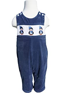 4fd2c9497 Dana Kids Little Boys Christmas Holiday Penguin Smocked Navy Corduroy  Longall 12M-4T