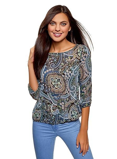 oodji Collection Mujer Blusa Estampada de Gasa, Azul, ES 36 / XS