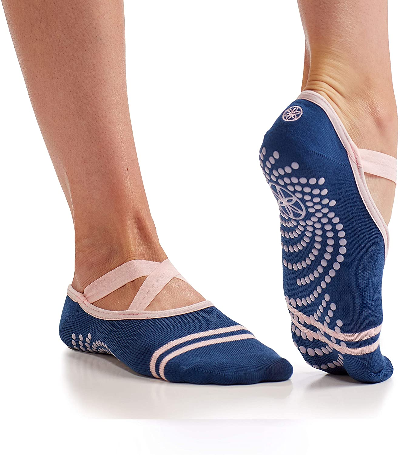 Gaiam Yoga Barre Socks | Non Slip Sticky Toe Grip Accessories for Women & Men | Pure Barre, Yoga, Pilates, Dance | One Size Fits Most, Indigo