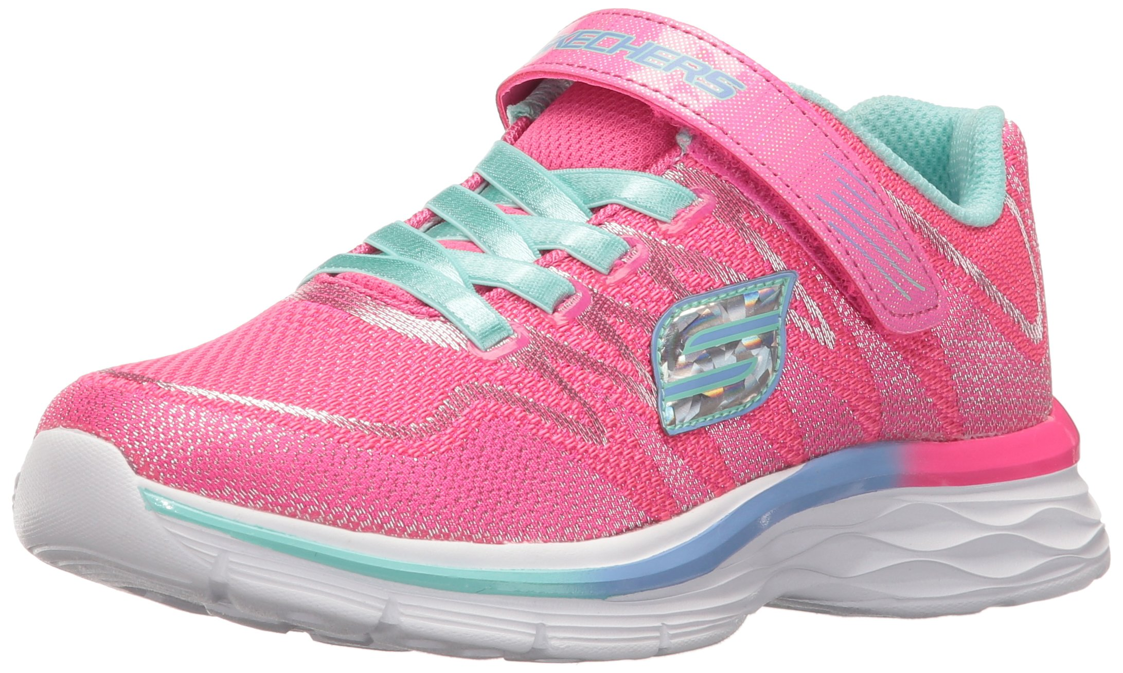 Skechers Kids Girls' Dream N'dash-Whimsy Sneaker,Neon Pink/Aqua, 5 M US Big Kid