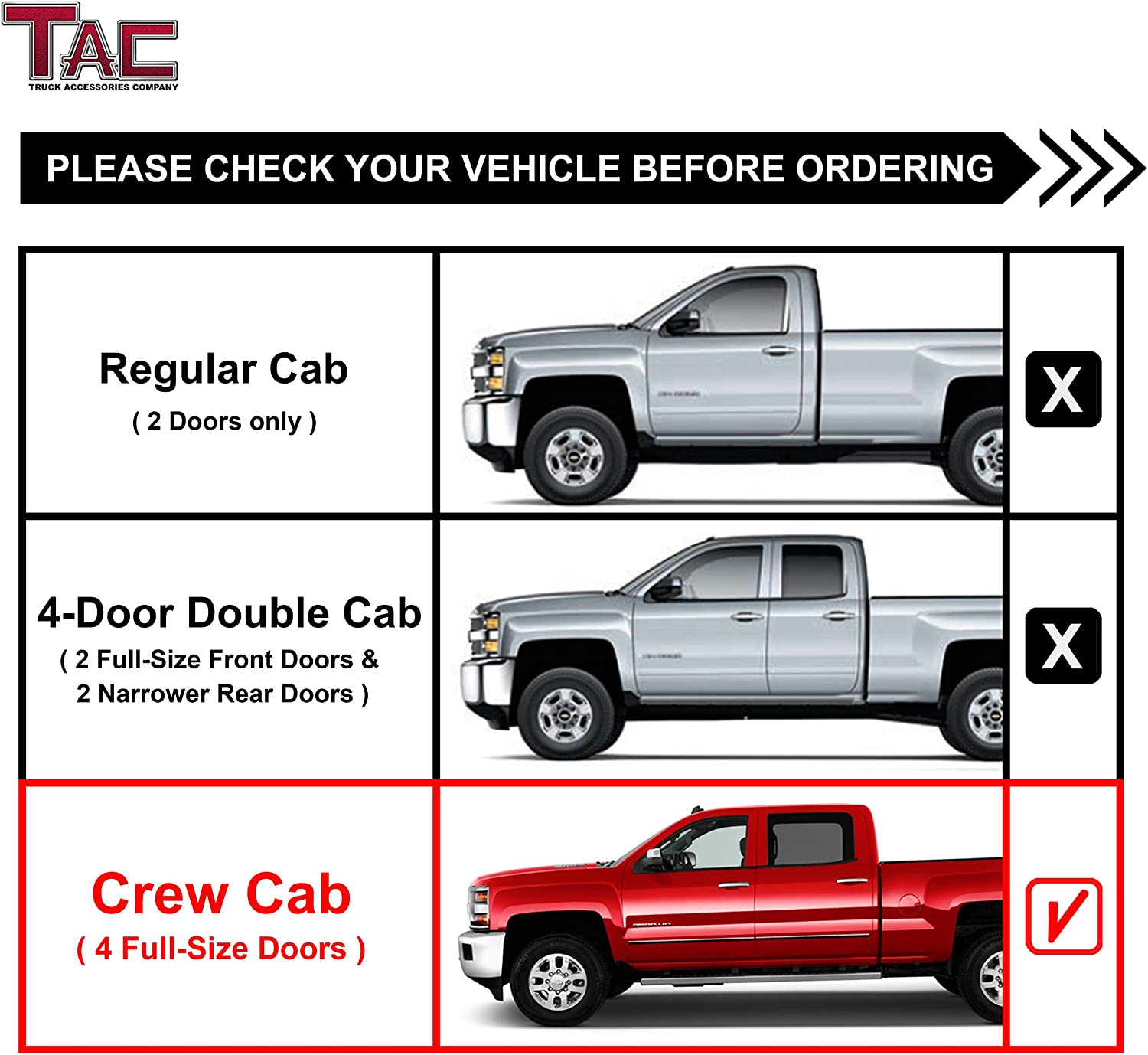 TAC Side Steps Running Boards Fit 2001-2018 Chevy Silverado//GMC Sierra 1500 2001-2019 Chevy Silverado//GMC Sierra 2500 3500 Crew Cab Truck Pickup 3 Black Side Nerf Bars Off Road Accessories 2 pcs