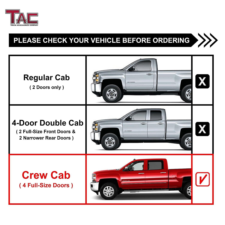 Tac Side Steps Fit 2001 2018 Chevy Silverado Gmc Sierra 1500 Crew Cab Excl C K Classic 2001 2019 Chevy Silverado Gmc Sierra 2500 3500 Crew Cab