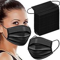 Black Disposable Face Masks, 50 Pack Face Masks 3 Ply Disposable Mask (200 Pack-Black)