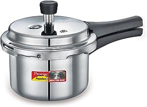 Prestige 10213 Popular Plus Induction Base Pressure Cooker, 1.5 Litre, Silver