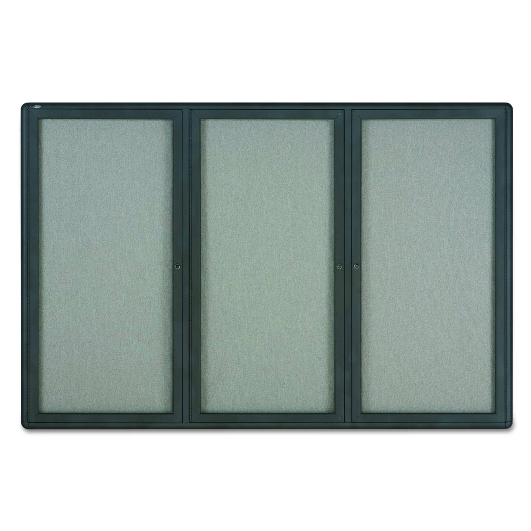 Quartet Enclosed Radius Fabric Bulletin Board, 6' x 4', 3 Door, Graphite Frame (2367L)