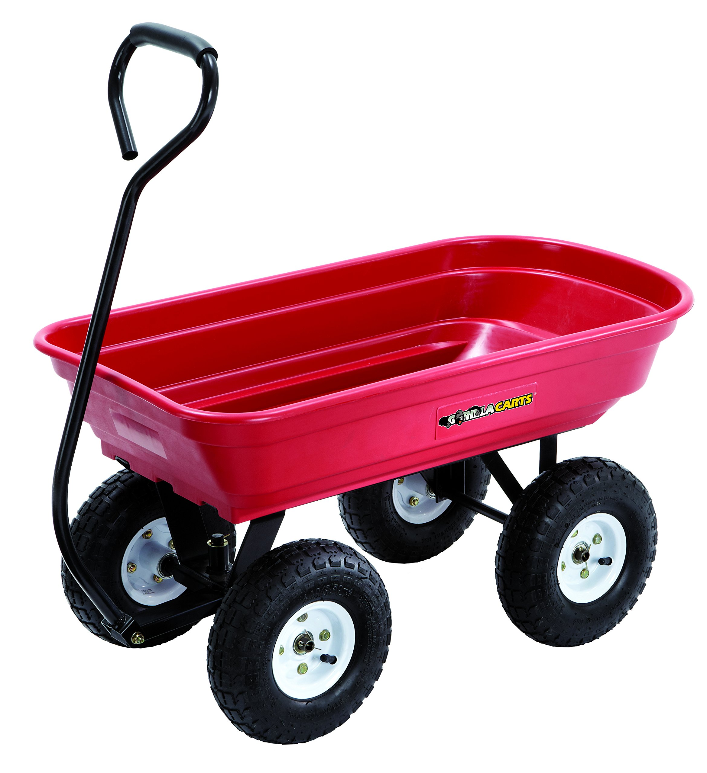 Gorilla Cart GOR100-14 Poly Garden Cart with Curved Handle, 400-Pound Capacity, 34.25-Inch by 18-Inch Bed, Red Finish