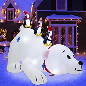 Juegoal Christmas 7.7(L) x 6 FT(H) Inflatables Lighted Polar Bear with Three Penguins, Blow Up White Bear Happy Fishing Penguin, Indoor Outdoor Xmas Winter Decor Lawn Yard Garden Decorations