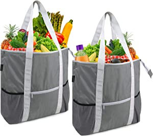 Grey Insulated Grocery Bags to Keep Food Hot Warm Cold Transport Soft Cooler Totes Set of 2 Extra Large Side Mesh Pockets Reinforced Bottom Recycle Freezer Thermal Baggies