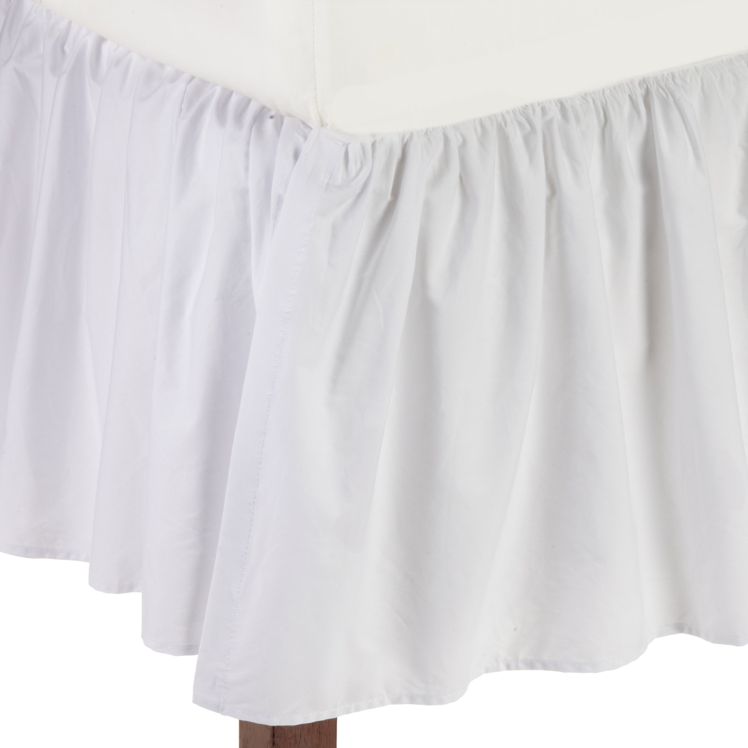 American Baby Company 100% Cotton Percale Ruffled Crib Skirt, White