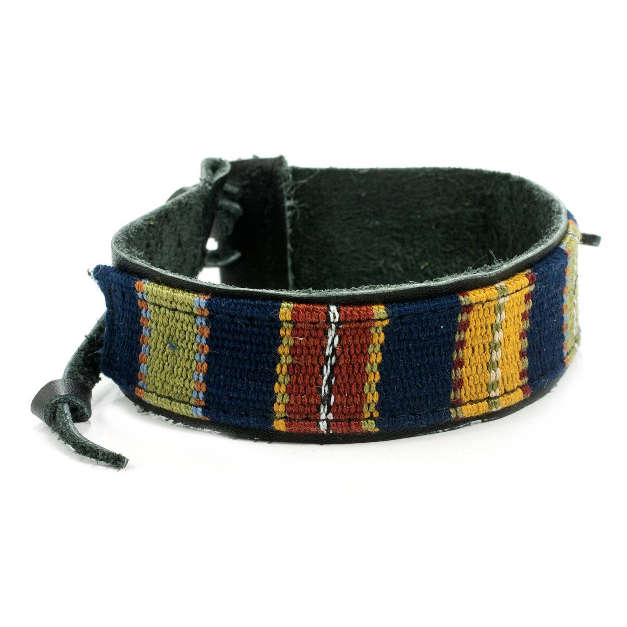 NOVICA Men's Black Leather and Multicolored Cotton Wristband Bracelet, Land of the Maya', 8.5''