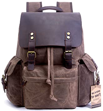 976654a742ba Suvom Vintage Canvas Leather Laptop Backpack College School Bookbag Travel  Rucksack 15.6 Inch Waterproof  Amazon.in  Bags