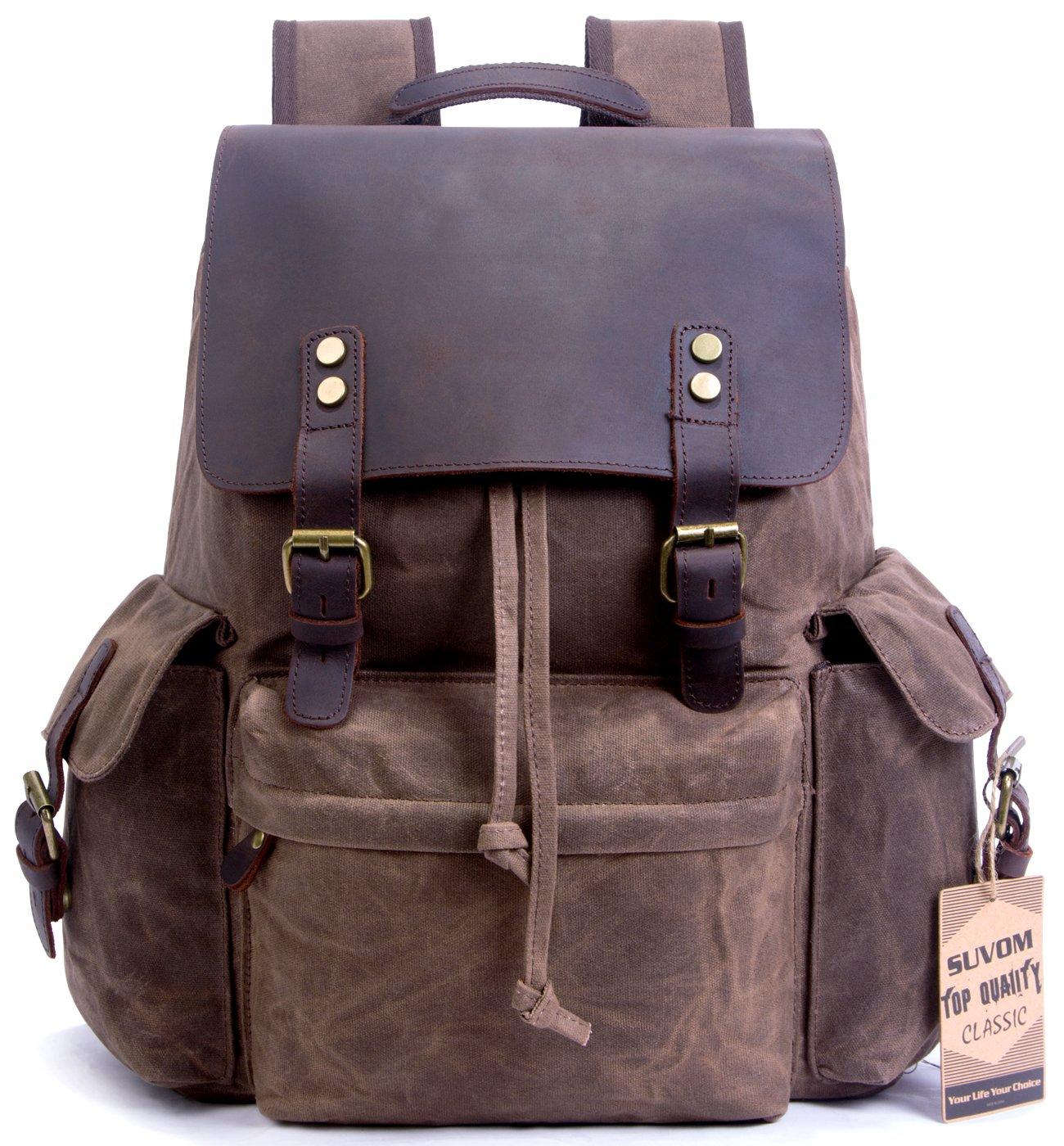 SUVOM Vintage Canvas Leather Laptop Backpack for Men School Bag 15.6'' Waterproof Travel Rucksack (Coffee)