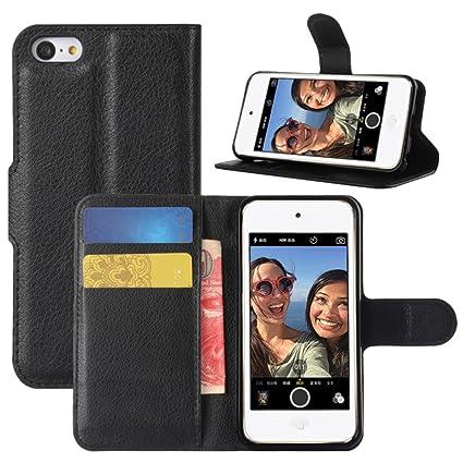 HualuBro iPod Touch 5/6 / 5G / 6G Hülle, Premium PU Leder Leather Wallet HandyHülle Tasche Schutzhülle Flip Case Cover mit Ka