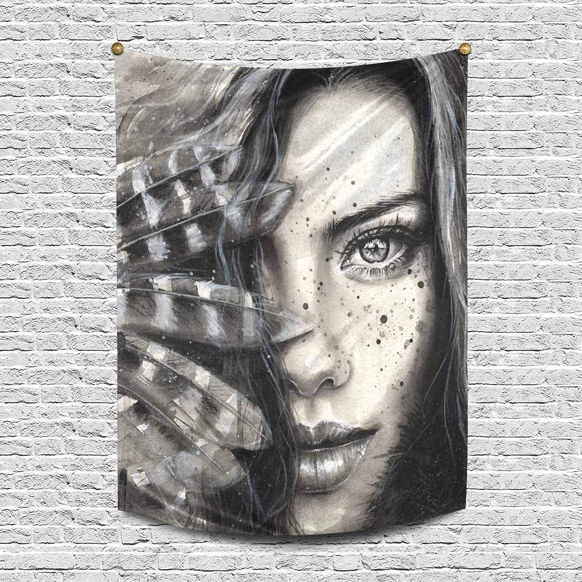 INTERESTPRINT Watercolor Fashion Girl Portrait with Feathers and Freckles Cotton Linen Wall Hanging Tapestry, Home Decor Collection Bedroom Living Room Dorm, 60 W X 80 L Inches