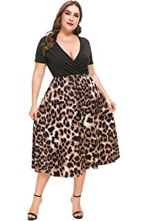 b343587b1 PlusSize Depot Women's V-Neck Print Pattern Casual Work Stretchy Plus Size  Swing Dresses 1XL